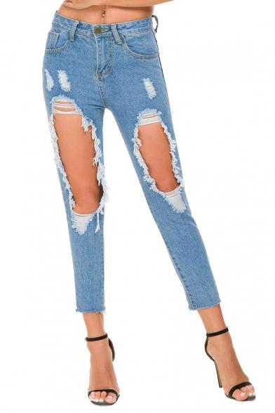 Women's Light Blue Distressed Big Hole Slim Fit Capri Jeans
