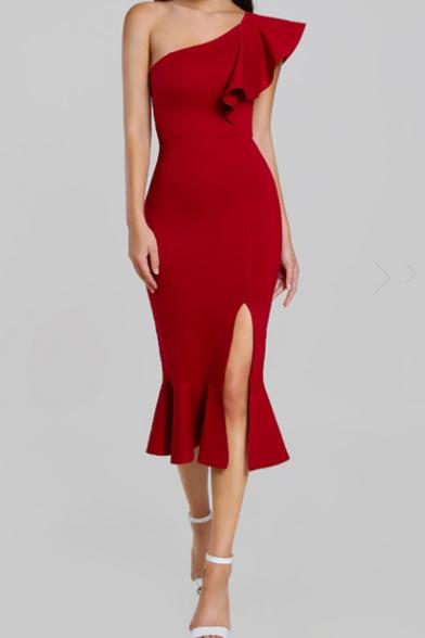 Women's Sexy Trendy Ruffle One Shoulder Sleeveless Plain Pattern Midi Bodycon Slit Dress