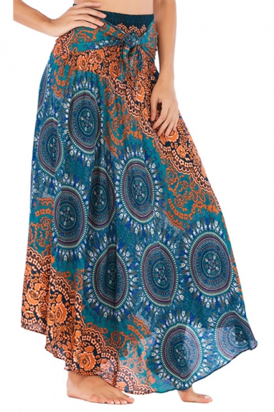 Womens Ethnic Style Tribal Printed Tied Waist Holiday Beach Two-Way Dance Flowy Skirt