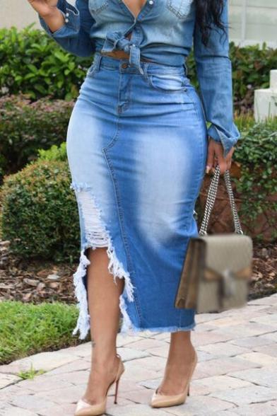 Womens New Fancy Bleached Blue Distressed Cut Slit Side Raw Hem Maxi Bodycon Denim Skirt