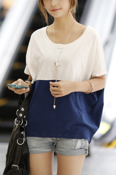 Womens Summer Fashion Colorblock Round Neck Short Sleeve Casual Loose Batwing T-Shirt