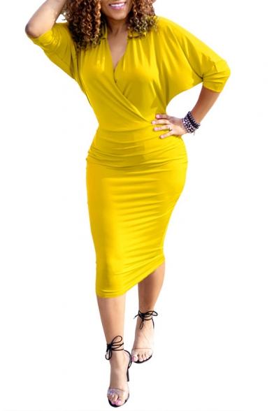 Womens Summer Sexy V-Neck Batwing Sleeve Plain Print Midi Bodycon Dress