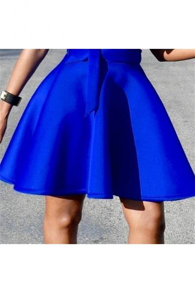 Womens Summer Trendy Plain Blue Square Neck Ruffled Hem Tied Waist Mini A-Line Swing Dress