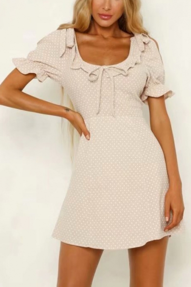 Womens Vintage Tied Front Ruffled Scoop Neck Short Sleeve Polka Dot Print Pink Mini A-Line Dress