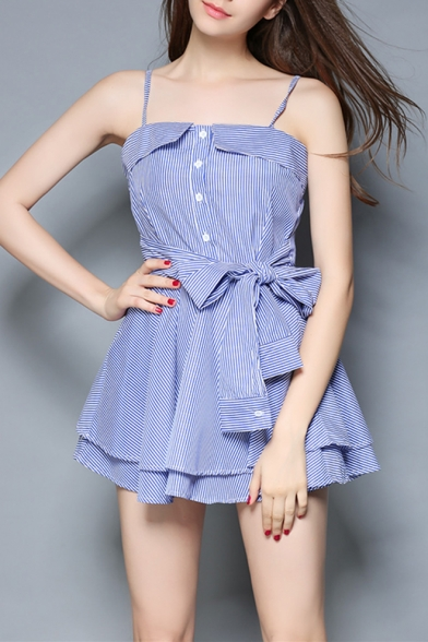 Blue Striped Printed Button Front Bow-Tied Waist Fake Two-Piece Mini A-Line Slip Dress