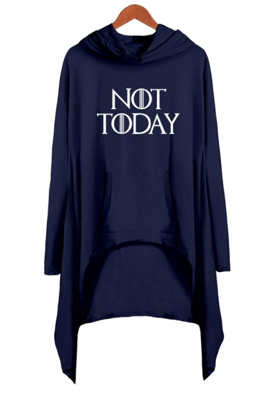 Cool Simple Letter NOT TODAY Long Sleeve Hooded Asymmetrical Dress