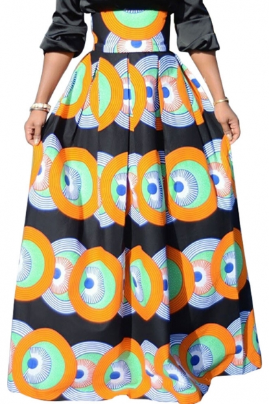 Ethnic Style Geometric Circle Printed Gathered Waist Maxi Flared Skirt