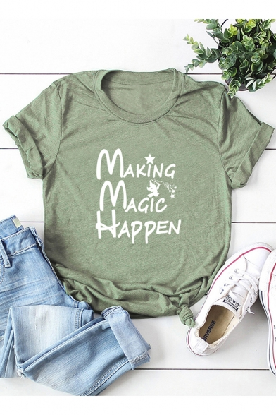 Funny Letter Making Magic Happen Star Print Short Sleeve Loose Fit T Shirt Beautifulhalo Com