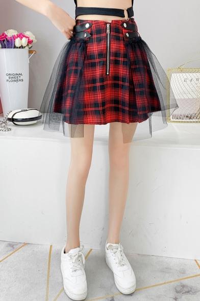 Girs Street Fashion High Rise Zipper Front Mesh Panel Red Plaid Print Mini A-Line Skirt