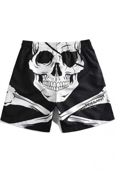 Guys Cool Skull Printed Drawstring Waist Black Beach Shorts Swim Trunks