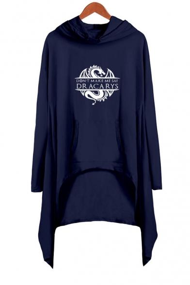 Hot Fashion Long Sleeve Hooded Dragon Dracarys Printed Asymmetrical Dress
