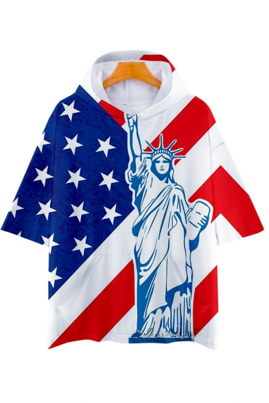 Independence Day Fashion Flag Printed Short Sleeve Casual Loose Hooded T-Shirt