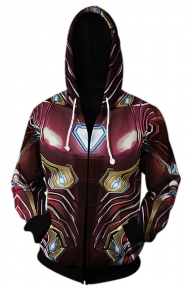 Iron Man Tony Stark Trendy Cosplay Costume Red Zip Up Long Sleeve Loose Fit Drawstring Hoodie