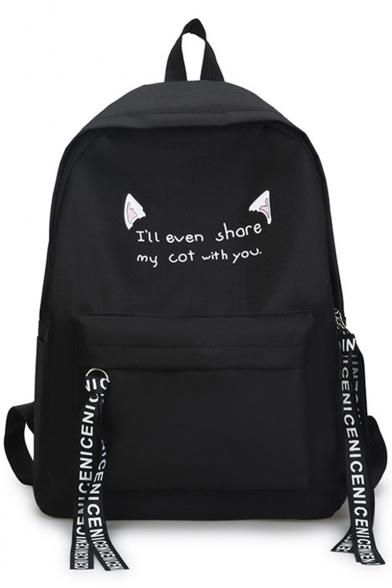 Lovely Cartoon Cat Ear Letter Printed Ribbon Detail Canvas School Bag Backpack 29*12*40 CM