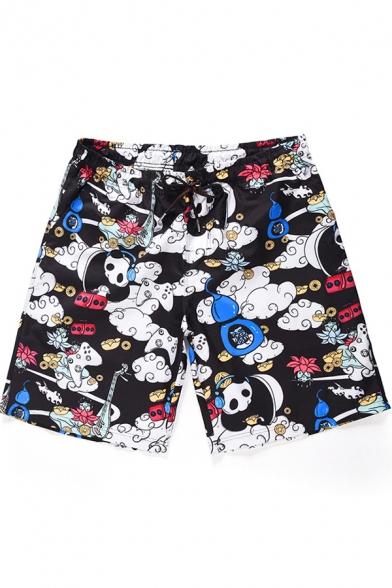 Lovely Cartoon Panda Pattern Men's Summer Black Beach Swim Trunks