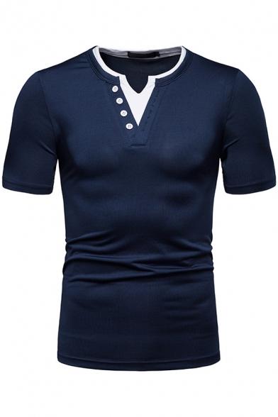 Men's Classic Button V-Neck Short Sleeve Simple Plain Slim Fitted Henley Shirt