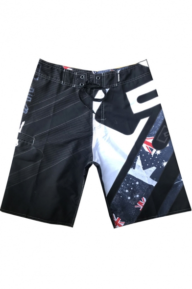 Mens Cool Printed Quick Drying Surfing Shorts Beach Swim Trunks