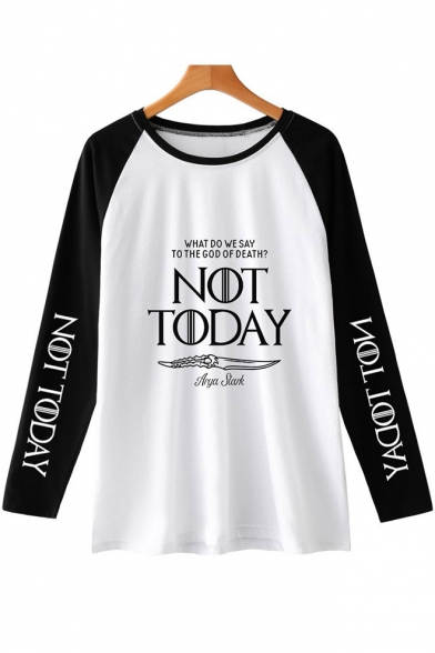 New Popular Letter NOT TODAY Basic Round Neck Colorblock Long Sleeve Unisex Relaxed T-Shirt