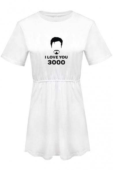 New Popular Round Neck Short Sleeve Figure Letter I Love You 3000 Mini A-Line Dress