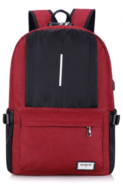 Popular Color Block Large Capacity Oxford Cloth School Bag Backpack 32*21*47 CM