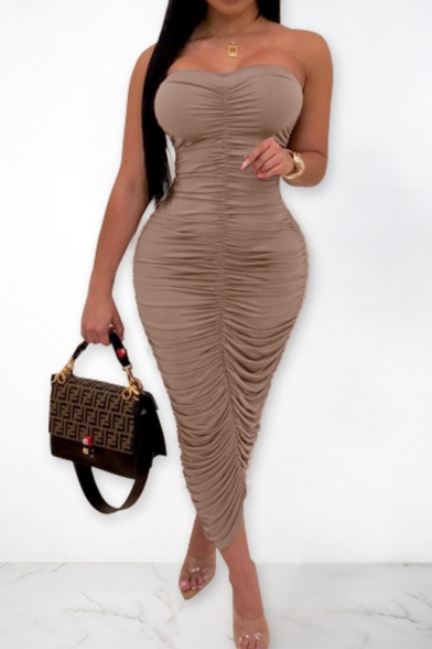 Summer Basic Solid Color Brown Unique Ruched Detail Maxi Bodycon Bandeau Dress Party Dress
