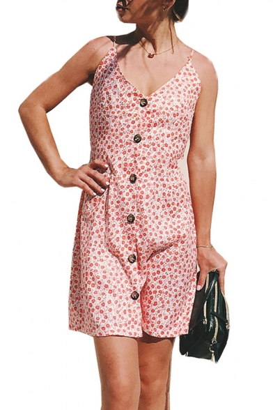 Summer Chic Floral Printed Bow-Tied Back V-Neck Button Down Mini Shift Holiday Slip Dress