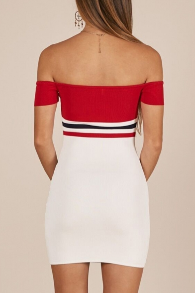 Summer Color Block Stripe Off the Shoulder Mini Bandeau Dress