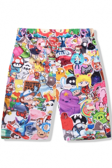 Summer New Fashion Cartoon Comic Character Printed Quick Dry Swim Shorts in Pink