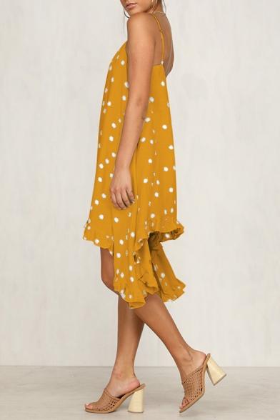 Summer New Stylish Polka Dot Printed Holiday Asymmetrical Strap Dress