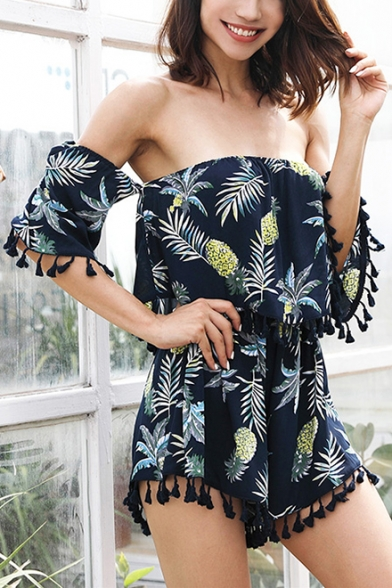 Summer Tropical Leaf Printed Stylish Pompom Tassel Hem Off the Shoulder Blue Cotton Romper for Women