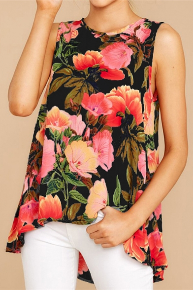 Summer Womens Chic Floral Printed Round Neck Sleeveless High Low Hem Casual Tank Top