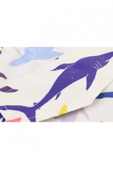 Trendy Allover Shark Fish Printed Guys Beach Swim Trunks with Lining