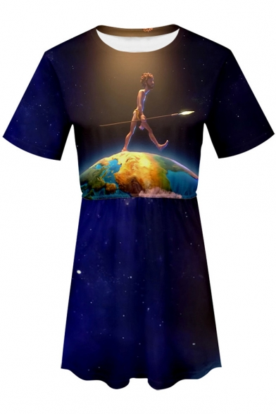Trendy Blue Galaxy Figure on Earth Print Short Sleeve Round Neck Mini A-Line T-Shirt Dress