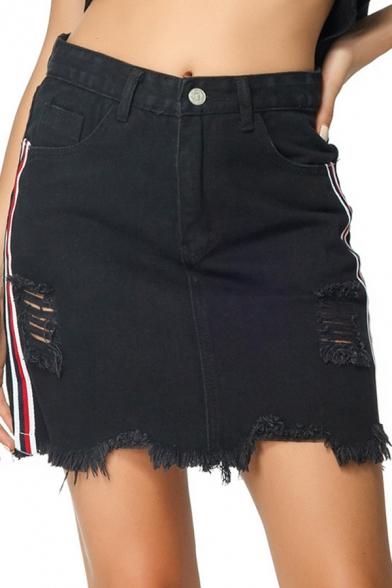 Unique Stripe Side Distressed Ripped Frayed Hem Mini Black Denim Skirt