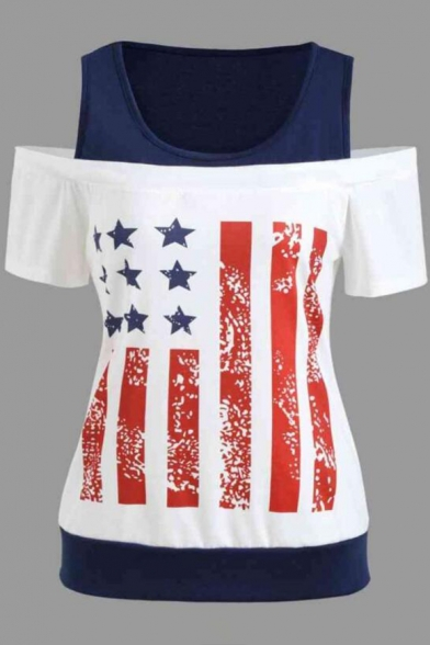 Women Fashion Flag Print Cold Shoulder Fake two pieces Cotton T-shirt
