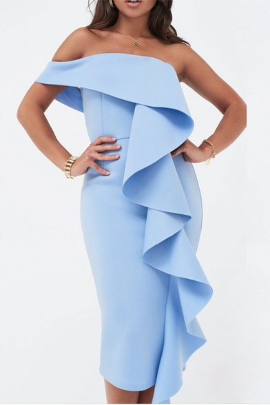 Women's Hot Fashion Plain Print Ruffle Detail One Shoulder Midi Bandeau Cotton Dress