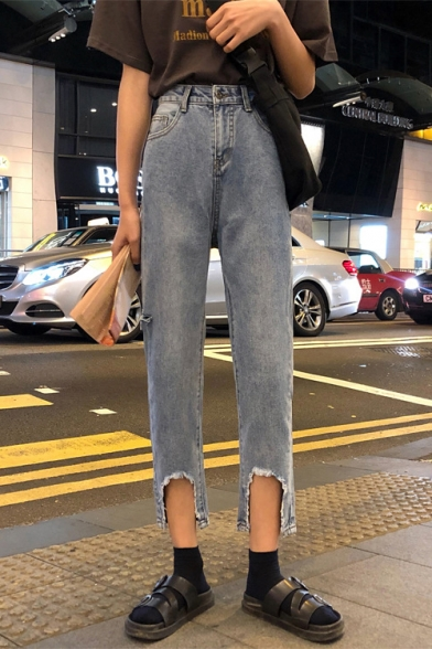 Women's New Fashion Open Cuff Straight Loose Fit Blue Jeans