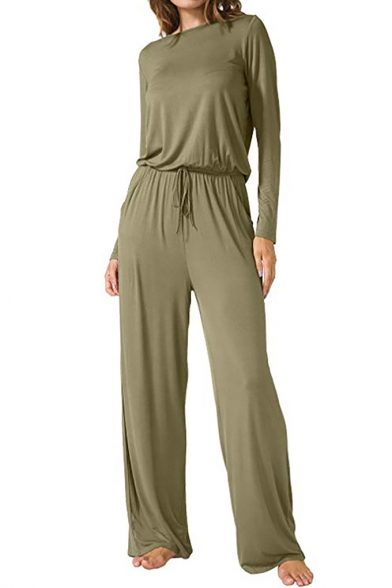 Women's New Simple Plain Long Sleeve Drawstring Wide Legs Pants Jumpsuit