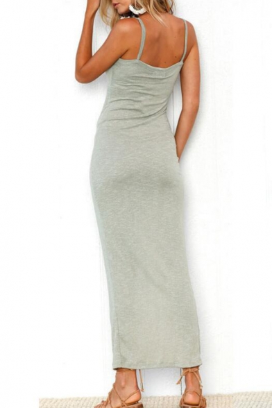 Women's New Stylish Buttons Front V-Neck Sleeveless Slit Detail Maxi Cami Dress