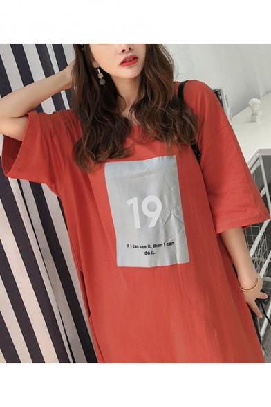 Women's Summer 19 Letter Print Round Neck Half Sleeve Loose Maxi Cotton T-Shirt Dress