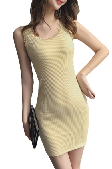 Womens Chic Lace-Trim Scoop Neck Sleeveless Solid Color Mini Bodycon Tank Dress