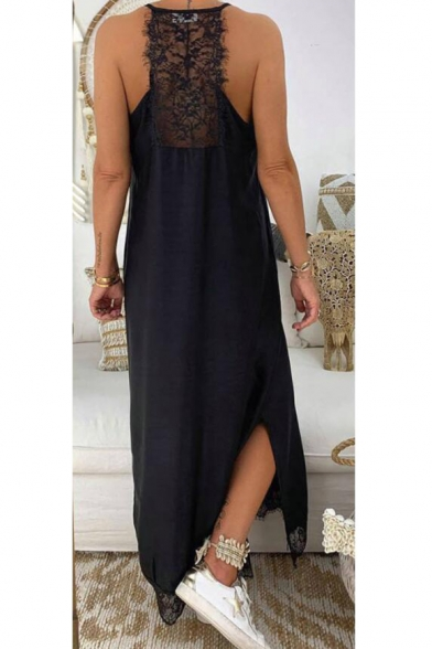 Womens New Trendy Lace-Trim Split Side Solid Color Black Maxi Casual Loose Cami Dress