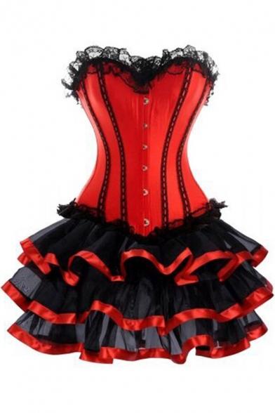 Womens Red Vintage Gothic Steampunk Style Lace Trim Corset Bodyshaper Layer Ruffled Mini Dress