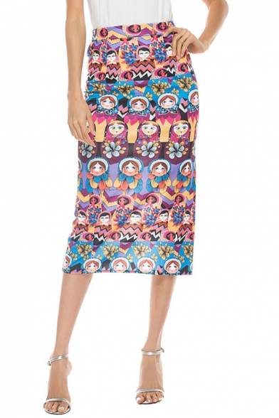 Cool Unique Allover Cartoon Baby Face Pattern Split Back Vintage Midi Pencil Skirt