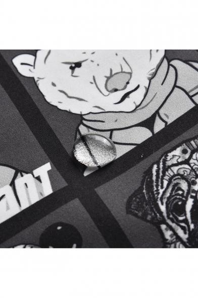 Funny Cartoon Animal Printed Guys Drawstring Waist Black Casual Swim Trunks