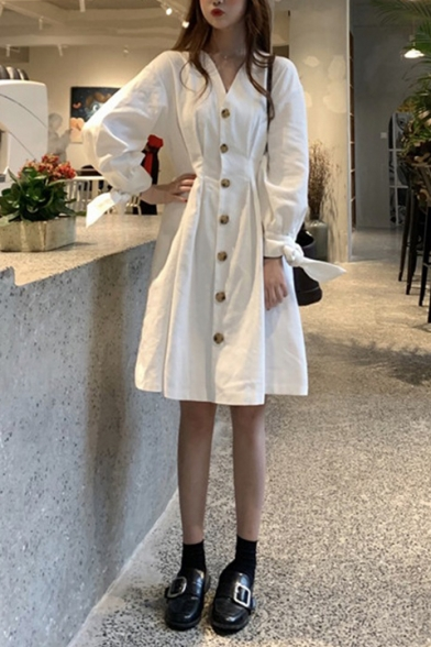 Girls New Stylish Solid Color V-Neck Long Sleeve Button Front Midi White A-Line Dress