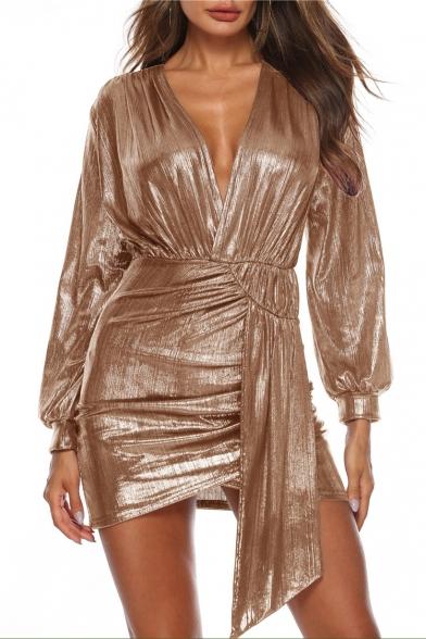 Hot Fashion Sexy V-Neck Long Sleeve Plain Print Mini Asymmetric Dress For Women