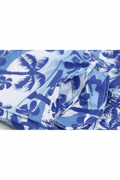 Men's Blue Tropical Coconut Palm Printed Drawcord Waist Loose Fit Quick Dry Swim Trunks