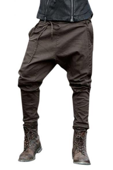 Mens Unique Tied Front Solid Color Baggy Low Crotch Harem Pants