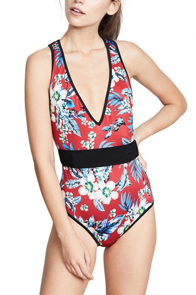 New Fashion Red Floral Printed Plunged Neck Womens Slim Fit One Piece Swimsuit Swimwear